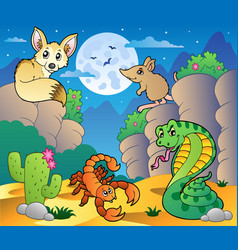 Desert scene with various animals 5 vector