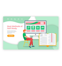 e-learning concept young man using laptop and vector image