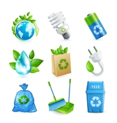 Ecology and waste icon set vector