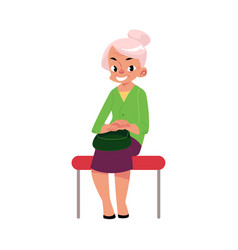 Elegant grey haired woman old lady sitting in vector