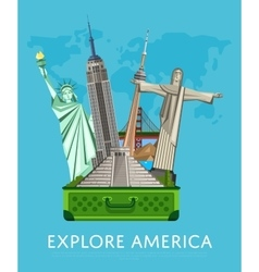 Explore america banner with famous attractions vector