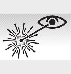 Eye radiation from a laser beam ray flat icon vector