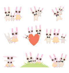 family bunnies set father mother and baby vector image
