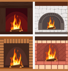 fireplaces wooden and stone decoration set vector image
