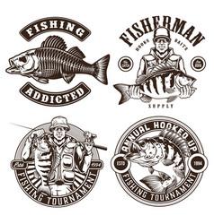 Fishing monochrome vintage emblems vector