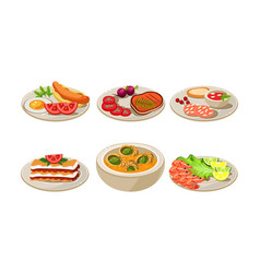 flat set of appetizing dishes plates with vector image