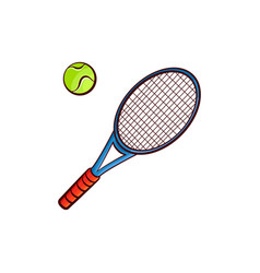 Flat sketch tennis ball racquet isolated vector