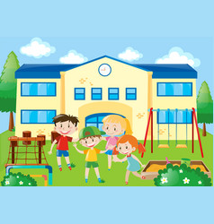 Four students in the school playground vector