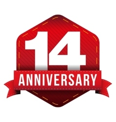 Fourteen year anniversary badge with red ribbon vector