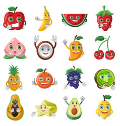 fruit character icons vector image