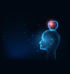 Futuristic glowing low polygonal human head vector