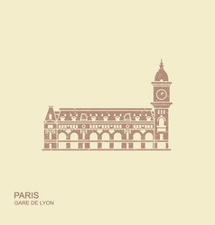 gare de lyon in paris con with shadow vector image