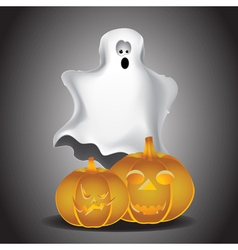Ghost and pumpkins vector image