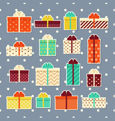 gift boxes retro stickers set colorful vector image