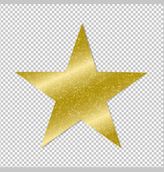 Golden star on transparent background vector
