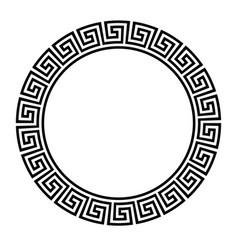 Greek key round frame typical egyptian assyrian vector