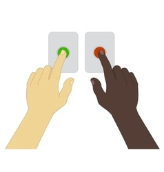Hands pressing green and red buttons vector