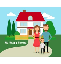 Happy family near house vector