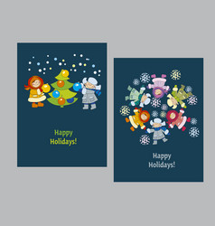 happy new year and xmas poster template vector image