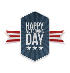 Happy veterans day festive label with text vector