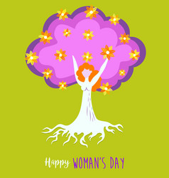 happy womens day spring tree of life girl concept vector image