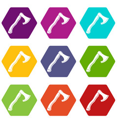Hatchet icon set color hexahedron vector