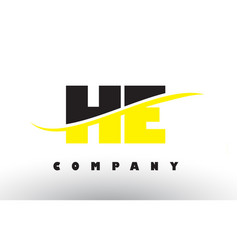 He h e black and yellow letter logo with swoosh vector
