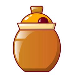 Honey jug icon cartoon style vector