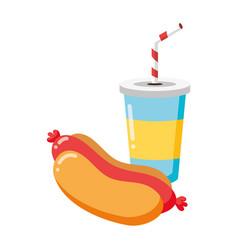 hot dog and soda vector image