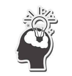 Human brain lightbulb idea icon vector