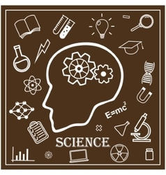 Human head and icons science vector