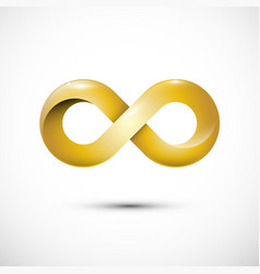 infinity love symbol golden loop icon gold vector image
