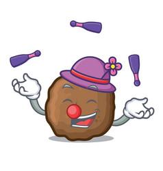 Juggling meatball mascot cartoon style vector