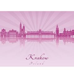 Krakow skyline in purple radiant orchid vector
