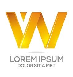 letter vw alphabet gold vector image