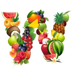 Letter W composed of different fruits with leaves vector