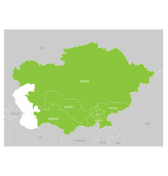 Map of central asia region with green highlighted vector