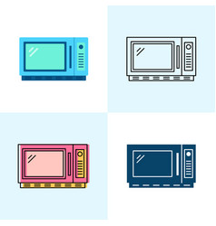 microwave oven icon set in flat and line styles vector image