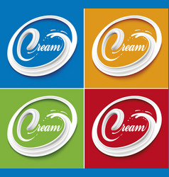 Milk cream tongue on different color background vector