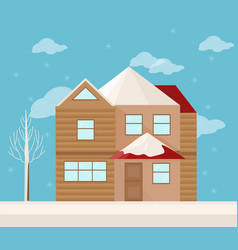 modern architecture facade of a house winter vector image