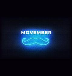 Movember neon moustache bright blue neon light vector