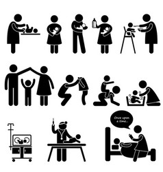 nanny mother father bachild care stick figure vector image