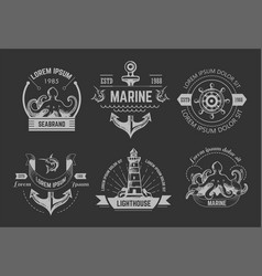 Nautical or marine symbols isolated icons octopus vector