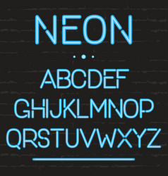 neon light alphabet glowing english letters vector image