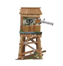 observation tower with machine gunner vector image