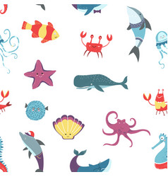 octopus and crayfish seafood raw oceanic animals vector image