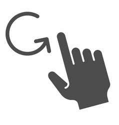 One finger rotate solid icon swipe vector