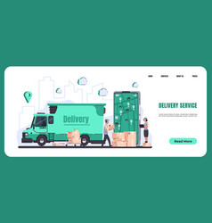 Online delivery landing page food and goods vector
