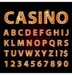 Orange neon lamp letters font show casino vector