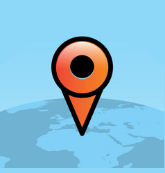 Orange travel map pin over world globe vector
